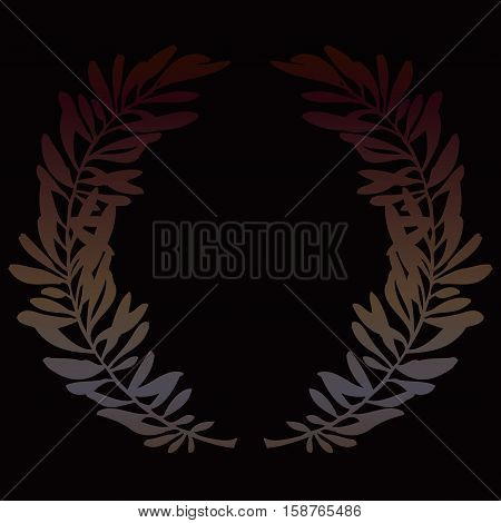 Dar olive branches or laurel wreath on black background. Hand drawn wreath. Vector illustration stock vector.