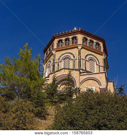 Famous orthodox monastery of Kykkos, Holy monastery of the Virgin of Kykkos in Cyprus. Travel sightseeing image