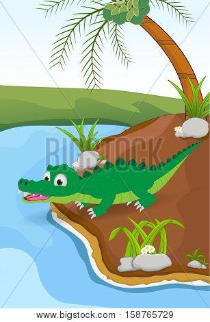 cartoon crocodile posing on the ground beside the river