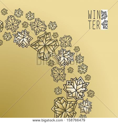 Swirl snowflakes concept design. Polygonal trendy style snowflakes on gold background. Winter holidays snowfall design. Vector illustration stock vector.