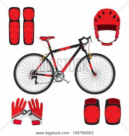 Bicycle bike skateboarding equipment and protect gear in flat style. Gloves knee pads and helmet for protection.
