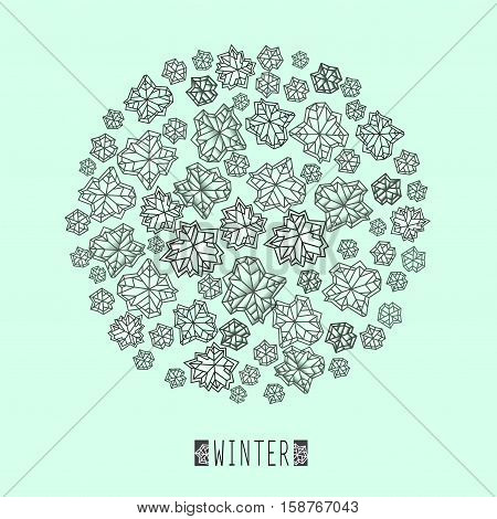 Round snowflakes concept design. Polygonal trendy style snowflakes on mint green background. Winter holidays snowfall design. Vector illustration stock vector.