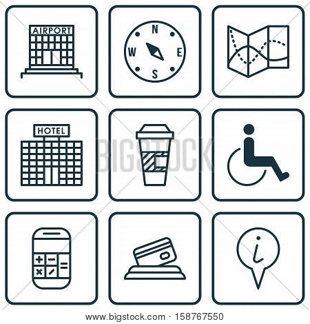 Set Of Transportation Icons On Credit Card, Airport Construction And Locate Topics. Editable Vector Illustration. Includes Locate, Airport, Office And More Vector Icons.