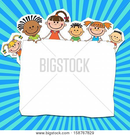illustration of kids peeping behind banner blue color vector