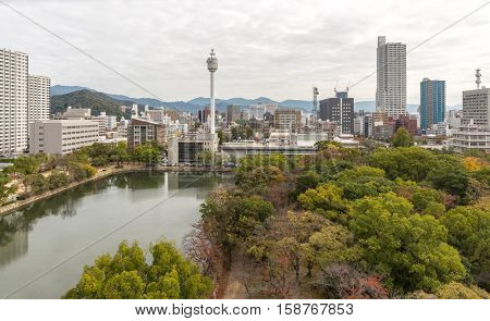 Aerial view of Hiroshima from its castle