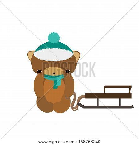 Cute teddy bear vector. Teddy-boy with sleigh.