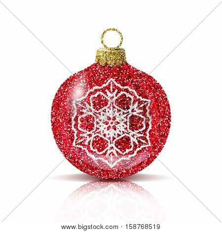Isolated red christmas ball with silver snowflake. Glitter sequins texture. Realistic decoration for christmas tree or new year. Brilliance sparkle. Reflection and shadow. Vector EPS10 illustration.