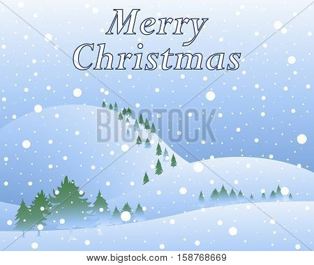 an illustration of snowy winter christmas scenery with pine trees hills and snowflakes in greeting card format with the words merry christmas