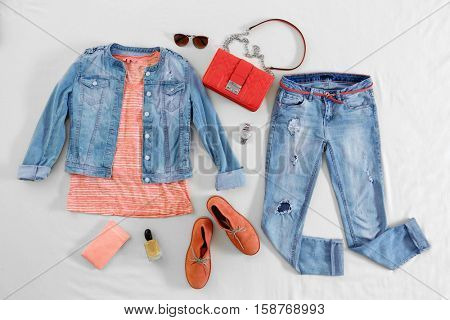 Set of women youthful clothes, flat lay