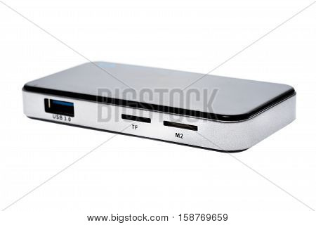 Close Up Of External Generic Usb 3.0 Card Reader Isolated.