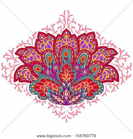 Indian ethnic ornament. Hand drawn decorative element.