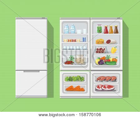 Refrigerator opened with food.Fridge Open and Closed with foods Fridge and fruit, freezer and vegetable set