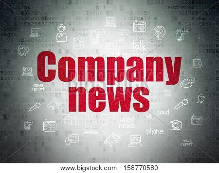 News concept: Painted red text Company News on Digital Data Paper background with  Hand Drawn News Icons