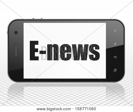 News concept: Smartphone with black text E-news on display, 3D rendering