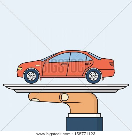 Man Holding Tray With Car