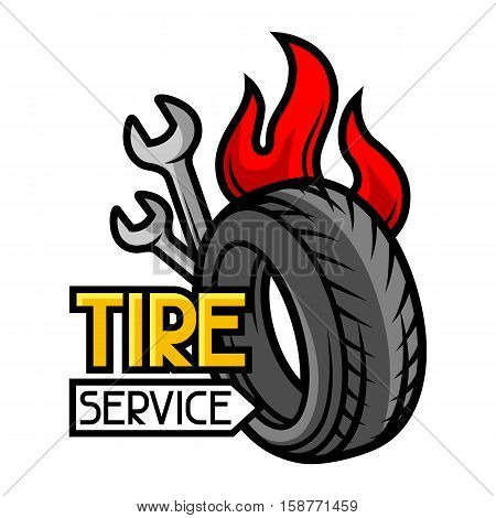 Tire service business illustration. Repair concept for advertising.