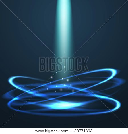 Magic glowing circles vector abstract background with light beam. Bright magic beam light in circle, effect abstract glowing beam illustration