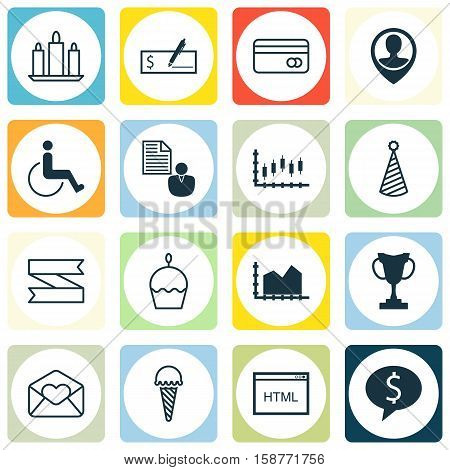 Set Of 16 Universal Editable Icons. Can Be Used For Web, Mobile And App Design. Includes Icons Such As Accessibility, Bank Payment, Greeting Email And More.