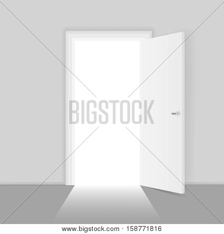 Open door opportunities concept for business success vector illustration. Way to entrance open door, chance to success