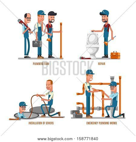 Plumbing work. Plumbers and plumbing repairs vector illustration. Team of plumbers repair pipe