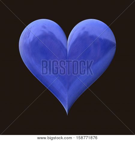Bright blue 3d heart with refletions on black