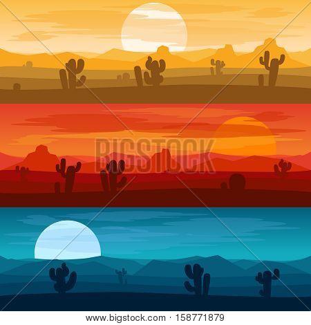 Desert mountains banners. Desert landscape days and desert at night vector backgrounds illustration