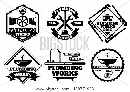 Plumber working logo and force plumbing label vector set. Template of logo plumbing works. Urgently reliable plumbing work illustration