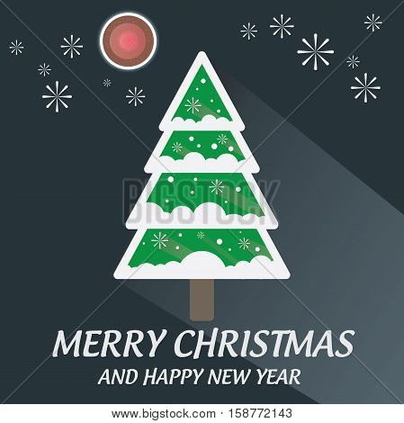 Merry Christmas Tree with firework and blood moon long shadow flat design