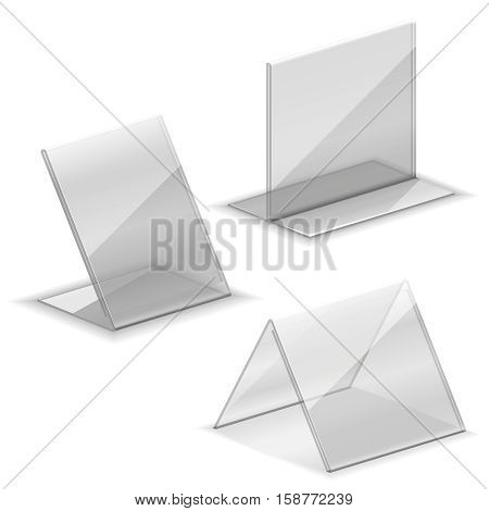 Acrylic vector empty plastic holder for business card. Holder for name card stand at table illustration