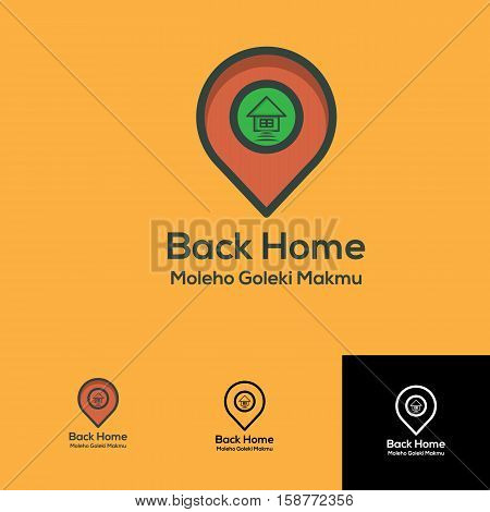 back home pin locations logo concept for mobile app blog or any others