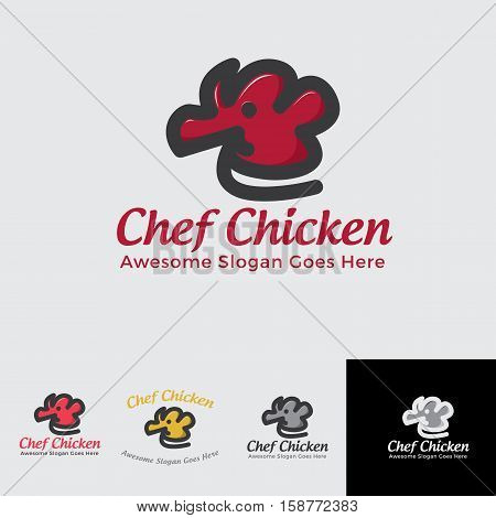 chef chicken logo concept for restaurant, junkfood, fastfood or any others with simple charachter of chicken + chef hat