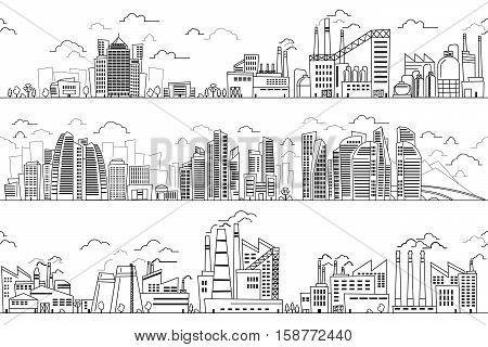 Industrial landscape and hand drawn cityscape. Vector plants and buildings line silhouettes. Business district and industrial district with plants and factories illustration