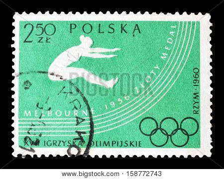 POLAND - CIRCA 1960 : Cancelled postage stamp printed by Poland, that shows Long jump.