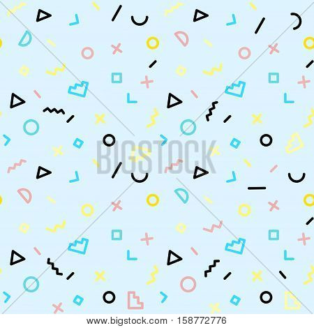 Memphis seamless pattern of geometric shapes Abstract 80s-90s styles design. Trendy memphis style. Colorful geometric hipster poster background. Vector illustration stock vector.