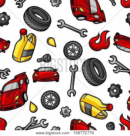 Car repair seamless pattern with service objects and items.