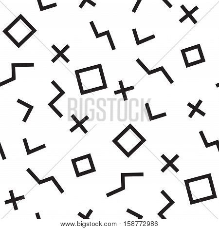 Memphis seamless pattern of geometric shapes Abstract 1980-90 styles design. Trendy memphis style. Colorful geometric hipster poster background. Vector illustration stock vector.