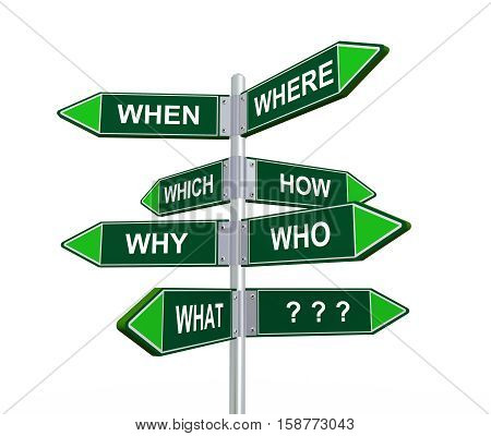3d illustration of different question words directional signpost road sign
