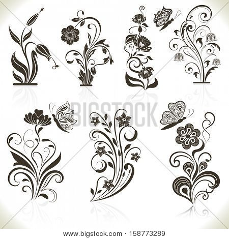 Floral flower design elements isolated on aged color background. Raster illustration.