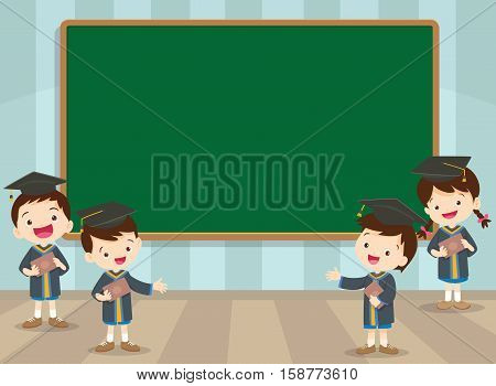 Graduation Students And Chalkboard
