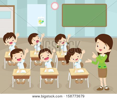 Students Hand Up In Classroom