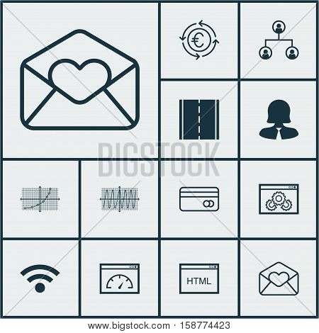 Set Of 12 Universal Editable Icons. Can Be Used For Web, Mobile And App Design. Includes Icons Such As Website Performance, Greeting Email, Plastic Card And More.