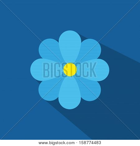 Cute Blue Tone Flat Flower , Vector, Illustration