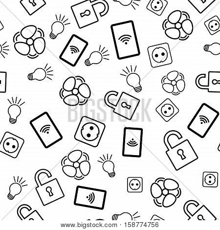 Seamless pattern with icons on white background. Internet of things
