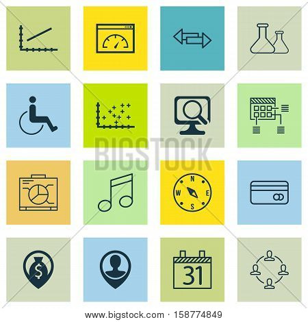 Set Of 16 Universal Editable Icons. Can Be Used For Web, Mobile And App Design. Includes Icons Such As Collaboration, Board, Money Navigation And More.