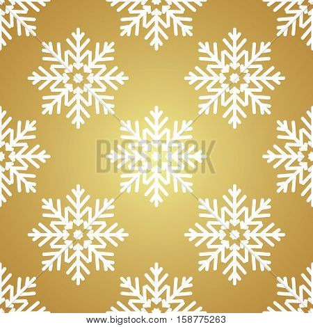 White snowflakes on Golden background seamless pattern for continuous replicate