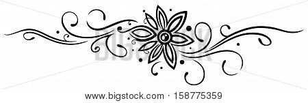 Vine with filigree large flower, Tattoo Style