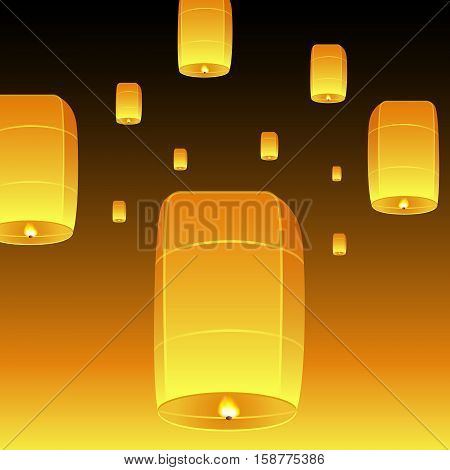Loi Krathong realistic illustration. Yi Peng Festival. Fly fire lanterns in night sky. Thai holiday. Vector EPS10.