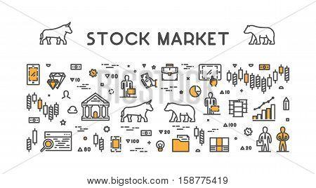 Line vector design concept for stock market. Horizontal banner of commodity exchange.