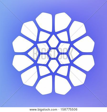 Vector Decorative White Kaleidoscope Mandala Ornament Illustration on Colorful Gradient Background. Abstract Decorative Design Element
