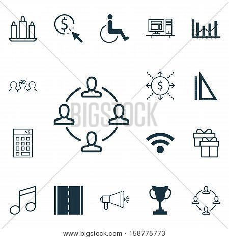 Set Of 16 Universal Editable Icons. Can Be Used For Web, Mobile And App Design. Includes Icons Such As Accessibility, Crotchets, Raise Diagram And More.